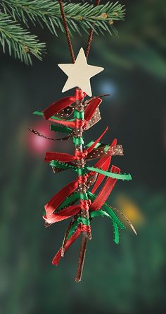 DIY ribbon Christmas tree ornament! Celebrate the holidays with an easy craft for kids of all ages.