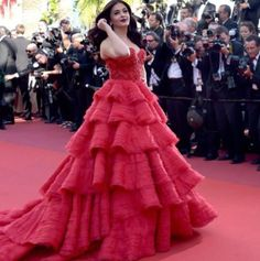 Aishwarya Rai in red dress attends the screening during the 70th annual Cannes Film Festival at Palais des Festivals on May 20, 2017 in Cannes, France