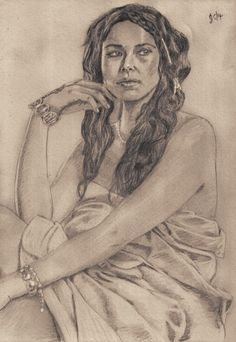 Jessica Parker Kennedy as Max in 'Black Sails'. Freehand sketch using HB pencil and eraser. Darkened and tinted digitally with some digital highlights.