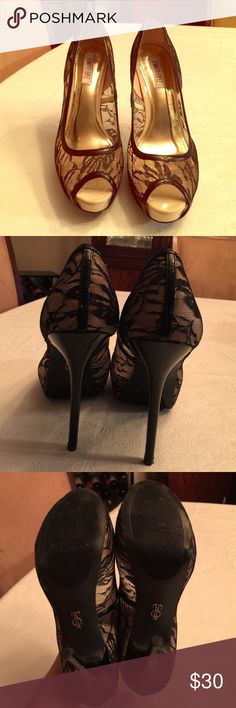 "Jennifer Lopez 5"" heels. Peep toe, platform with lace design. These are super sexy and were only worn once so they are in excellent condition! Jennifer Lopez Shoes Heels"