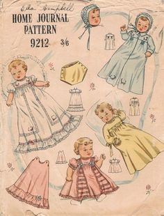 1950's Set of Patterns for Baby's Set of Clothes from Australian Home Journal No. 9212