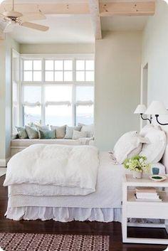 Bright, white bedroom
