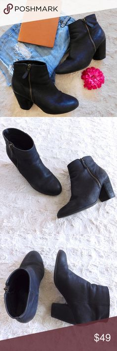 """BP Nordstrom Trolley Ankle Booties In excellent used condition, minor signs of wear. Size 8, so comfortable and perfect everyday booties! Has a stacked heel and side zipper for easy on/off. Leather upper, man-made sole. The heel is 3.5"""" tall. Smoke/pet free home. Ask all questions before buying💓 NO trades!❌🙅🏻 Bundle for a discount! 🎉 •shorts NFS• BP Shoes Ankle Boots & Booties"""