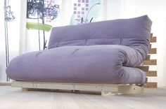 This modern 'Japanese style' futon sofa bed is called the Fiji, it comes with a 6 layer folded futon mattress. www.naturalbedcompany.co.uk. Feel free to pin!