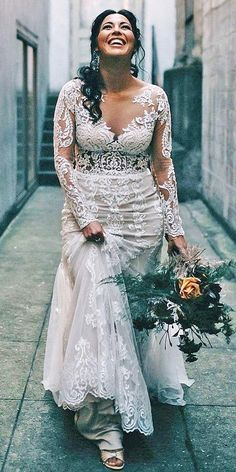 12 Dreamy Plus Size Wedding Dresses With Sleeves ❤ plus size wedding dresses with sleeves sheath full lace illusion neckline justin alexander Backless Wedding Dresses To Make You Charming On Wedding Day Plus Size Wedding Dresses With Sleeves, Plus Size Wedding Gowns, Princess Wedding Dresses, Best Wedding Dresses, Bridal Dresses, Bridesmaid Dresses, Plus Size Brides, Gowns For Plus Size, Plus Size Lace Dress