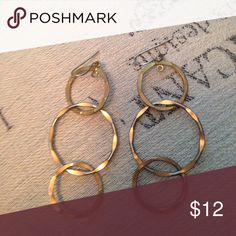 Gold three hoop earrings In good condition gold three hoop earrings sku 783 Jewelry Earrings