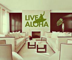HUGE Live Aloha - surf art - vinyl wall art decals stickers handmade in Hawaii by 3rdaveshore. $96.00, via Etsy.