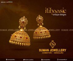 This Jhumkkas is all you need for something out-of-the-box to go with your attire on a special occasion. Exclusive Itihaasic Collection from Suman jewellery Gold Jhumka Earrings, Jewelry Design Earrings, Gold Earrings Designs, Gold Ring Designs, Gold Jewellery Design, Jhumka Designs, Gold Temple Jewellery, Gold Wedding Jewelry, Gold Jewelry Simple
