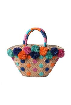 Cestos paja Mini Chiquita Basket Bag With Pom Poms Diy Tote Bag, Diy Purse, Hessian Bags, My Style Bags, Diy Sac, Art Bag, Straw Tote, Boho Bags, Basket Bag