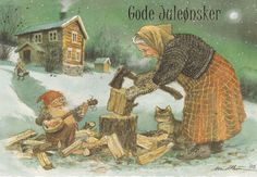 """Gnome and Woodchopper """"Good Christmas Wishes""""  Kjell"""