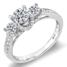 14k White Gold 1ct TDW Three-Stone Round Diamond Engagement Ring (H-I I1-I2) | Overstock.com Shopping - Top Rated Engagement Rings