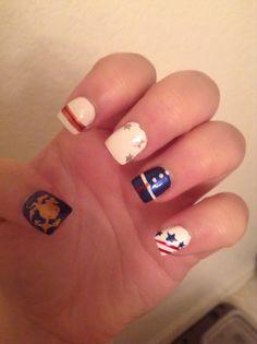 Marine nail design Usmc Nails, Marine Nails, Cute Nail Art, Cute Nails, Pretty Nails, Nail Polish Designs, Nail Designs, Beauty Hacks, Beauty Ideas