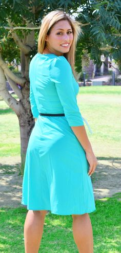 Halle Gorgeous Teal Midi Modest Dress