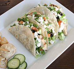 Greek Salad Tacos With Cucumber Dressing