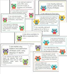 common core objective cards for 2nd grade math