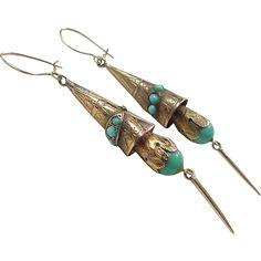 Victorian 1800's 14k Gold Persian Turquoise Long Dangle Earrings