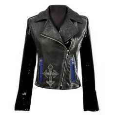 W.NRM32-C1 Black Leather Ladies Jacket with Cross Detail