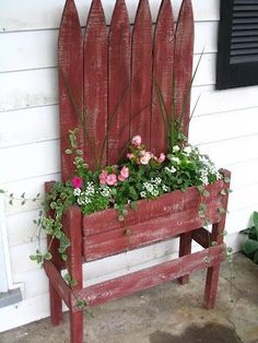 Planter made from a section of picket fence