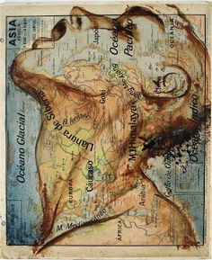 """In the painting series """"Atlas,"""" Spanish artist Fernando Vicente uses maps as canvases for his incredible illustration work. The illustrations---of people Ap Studio Art, Map Painting, Painting & Drawing, Art Carte, Spanish Artists, Art Design, Pablo Picasso, Art Studios, Art Lessons"""