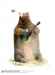 by Kei Acedera -- (bear playing guitar, bird, illustration) Art And Illustration, Art Illustrations, Bear Pictures, Children Pictures, Art Children, Photo D Art, Bear Art, Animal Drawings, Artwork