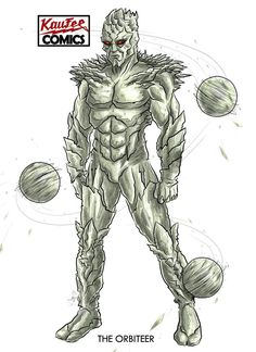 Kaufee Comics' Original Character, the Orbiteer, the alien lord of Gravity! His volcanic head creates various stone projectiles with magma at their core. -The Orbiteer- Fantasy Character Design, Character Concept, Character Art, Pitbull, The Vindicator, New Hulk, Apocalypse Character, Alternative Comics, Dc Anime