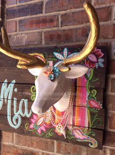 Faux Taxidermy, Deer Head Wall Mount, Boho Tribal Nursery, Monogrammed Floral Stripes on Reclaimed Pallet Wood for pre teen, children, girly by dreaminbohemian on Etsy