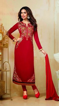 Esha Gupta Red Bollywood Salwar Kameez YS71360