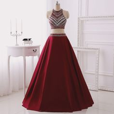 Real Made Two Pieces A-Line Prom Dresses, Floor-Length Evening Dresses,Prom Dresses,SC83                                                                                                                                                     Más