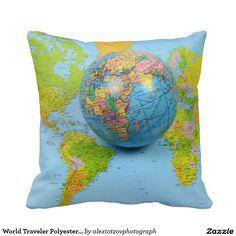 "World Traveler Polyester Throw Pillow 16"" x 16"" #World #Traveler #Polyester #Throw #Pillow my #design #photography  #sold @zazzle/alexiotzovphotography"