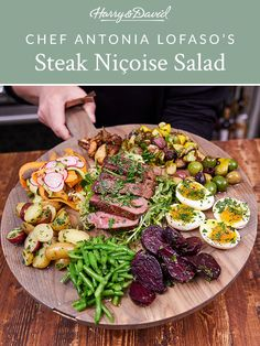 This recipe for bourbon-peppercorn steak salad is healthy, inventive, and accessible for home cooks of all skill levels. Nicoise Salad, Cobb Salad, Peppercorn Steak, Pattypan Squash, Soft Boiled Eggs, Steak Salad, Easy Entertaining, Baby Carrots, Beets