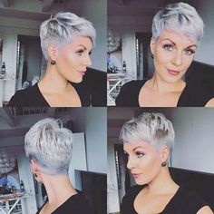Today we have the most stylish 86 Cute Short Pixie Haircuts. We claim that you have never seen such elegant and eye-catching short hairstyles before. Pixie haircut, of course, offers a lot of options for the hair of the ladies'… Continue Reading → Grey Pixie Hair, Short Grey Hair, Short Hair Cuts For Women, Short Hairstyles For Women, Very Short Hair, Short Pixie Haircuts, Pixie Hairstyles, Trendy Hairstyles, Pixie Haircut Styles