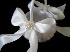 Ivory or White Alencon Lace Flower Girl Basket by simplybridal1, $69.00