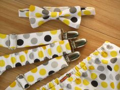 Boy First Birthday Clothes or Cake Smash Outfit: Gray and Yellow Suspenders, Bow Tie and Diaper Cover Outfit, Yellow and Gray Polka Dots, $52.00