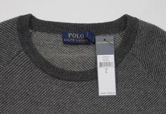 NWT $225 Polo Ralph Lauren Crewneck Grey Twill Merino Wool Sweater LARGE  #PoloRalphLauren #Crewneck