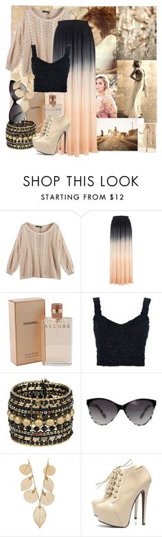 """Beige contest"" by samang ❤ liked on Polyvore featuring Zink, Coco's Fortune, Chanel, Alexander McQueen, Dolce&Gabbana, Wallis, MANGO, AX Paris, ombre and lace"