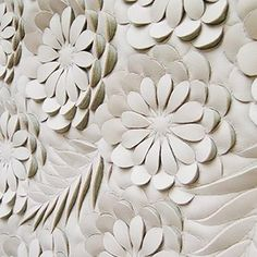 3D Textiles Design - carved leather floral patterns with sculptural relief; fabric manipulation // Helen Amy Murray