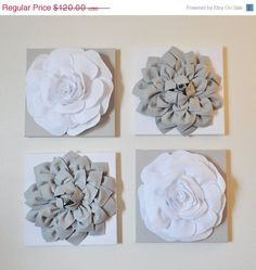 "NEW YEARS SALE Wall Decor -Set Of Four Gray and White Flower Wall Hangings 12 x12"" Canvases Flower Wall Art-"