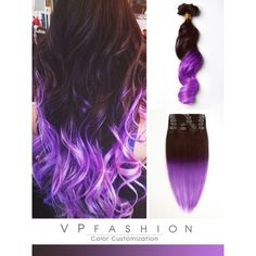 Brown to Purple Mermaid Colorful Ombre Indian Remy Clip In Hair... ❤ liked on Polyvore featuring accessories, hair accessories, indian hair accessories, purple hair accessories and hair extension accessories