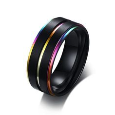 Cool Thin Rainbow Line Wedding Rings for Men Black Stainless Steel Boy Anel Masculino Matte Finished Accessories Mens Stainless Steel Rings, Black Stainless Steel, White Gold Diamonds, Natural Diamonds, Rose Gold, Black Diamond, Diamond Jewelry, Jewelry Rings, Diamond Earrings