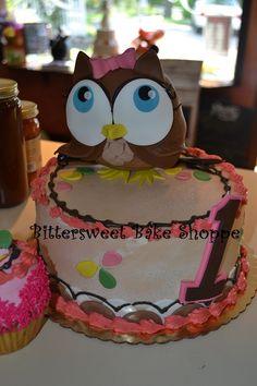 """""""Owl 1st Birthday Cake"""" Bittersweet Bake Shoppe Tyngsboro, Massachusetts"""
