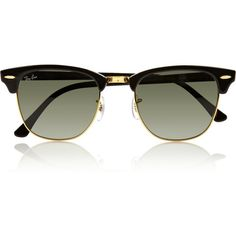 Ray-Ban Clubmaster acetate sunglasses (£125) ❤ liked on Polyvore featuring accessories, eyewear, sunglasses, glasses, óculos, black, black lens sunglasses, ray ban sunglasses, black sunglasses e metal frame glasses