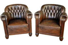 Pair of Art Deco Leather Club Chairs image 2