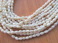 Vintage five strand yellow Gold bead and white rice Pearl Necklace Gold Beads, Vintage Gifts, Dress Ideas, My Ebay, Pearl Necklace, Advertising, Wedding Dress, Pearls, Store
