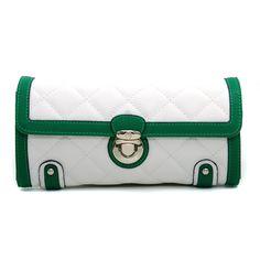 Anais Gvani Quilted Two-Tone Clutch Style Wallet w/ Bonus Wrist Strap - White