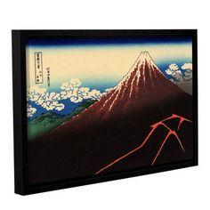 "ArtWall Shower Below the Summit (Sanka Hakuu) by Katsushika Hokusai Framed Painting Print Size: 8"" H 12"" W"