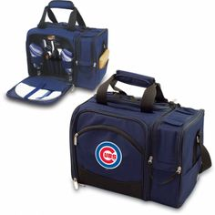 """Chicago Cubs Picnic Pack With Service for 2 -Malibu by Picnic Time. SHORT DESCRIPTION:The Malibu is the most convenient go-anywhere picnic pack you can find. Fully insulated, it's made of 600D polyester and comes with deluxe picnic service for two. The Malibu features an insulated and divided wine section for two bottles and a removable water-resistant liner in the food storage area. Its amenities include: 2 plates (melamine, 9""""), 2 wine glasses (PS, 8 oz.), 2 napkins (100% cotton, 14"""" x…"""