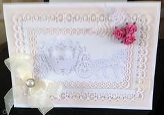wedding card made with spellbinders frame and tattered lace   www.delabur.co.uk