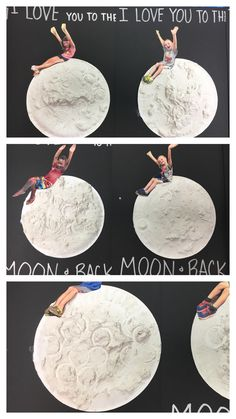 Space and beyond week, I love you to the moon and back, supplies: black construction paper, small paper plate, picture of student, silver sharpie, glue, moon paint (flour mixed with white paint), empty water bottle (to create craters)