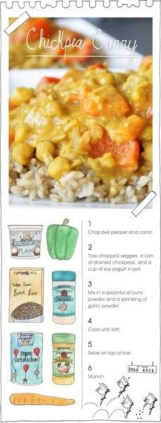 simple chickpea curry: bell pepper, carrots, can of drained chickpeas, cup of plain yogurt, add curry powder and garlic powder, cook well, serve on brown rice.