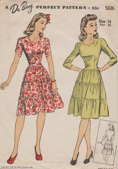 DuBarry 5636 / Vintage 40s Sewing Pattern / Dress / Size 14 Bust 32